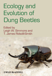 Cover image of Ecology and Evolution of Dung Beetles, features a shiny dar