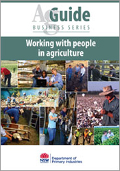 Cover image of Working with People in Agriculture, features a collection o