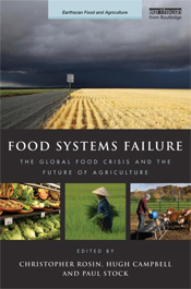 The cover image of Food Systems Failure, features one large image of a whe