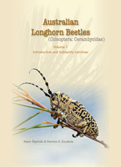 The cover image of Australian Longhorn Beetles, featuring a black and whit