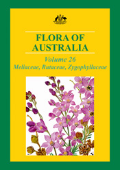 The cover image of Flora of Australia, featuring a green and gold backgrou