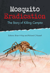 The cover image of Mosquito Eradication, featuring a close up picture of a