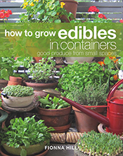 Cover image of How to Grow Edibles in Containers, featuring a small balcon