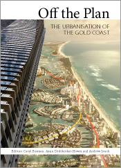 Cover featuring an aerial photograph of the Gold Coast overlaid with trans