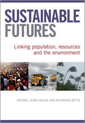 Cover image of Sustainable Futures, featuring photographs of a crowd of pe