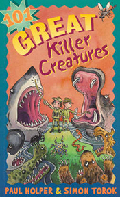 Cover image of 101 Great Killer Creatures features illustrations of a larg