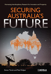 Cover of Securing Australia's Future with satellite dishes pointing to a m