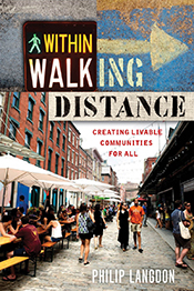 Cover image with graphical text and main image showing pedestrianized stre