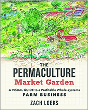 Cover with loose drawing in greens and reds of permaculture market garden.