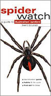 Cover image of Spiderwatch, featuring large black and red spider on a whit
